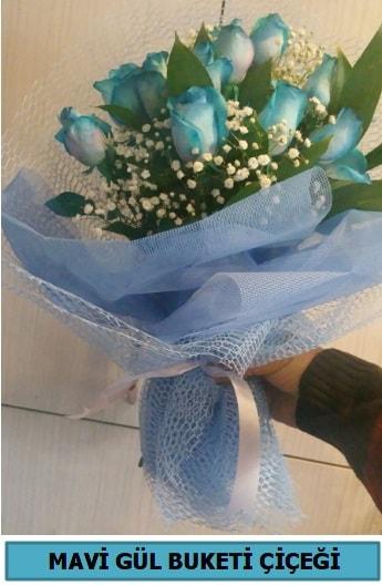 12 adet mavi gülden mavi buket  Polatlıya çiçek Ankara çiçekçi telefonları