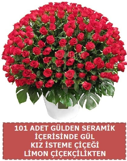 Seramik vazoda 101 gül kız isteme çiçeği  Polatlıda çiçek firması çiçek gönderme