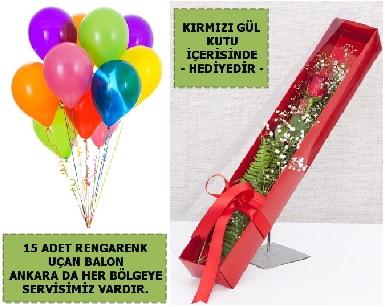 15 Adet uçan balon ve kutuda kırmızı gül  Polatlı Ankara çiçek , çiçekçi , çiçekçilik