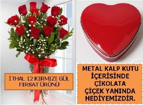 12 adet kırmızı gül ve kalp kutuda çikolata  Polatlıya çiçek Ankara çiçekçi telefonları