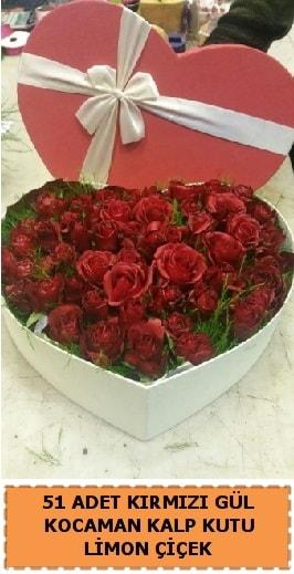 51 adet kırmızı gül kocaman kalp kutu  Polatlıda çiçek firması çiçek gönderme