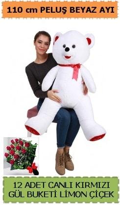 110 cm beyaz kocaman peluş ayı ve 12 gül  Polatlıda çiçek firması çiçek gönderme