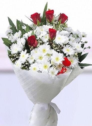 Sevdiğime papatya ve 5 kırmızı gül buketi  çiçekçi mağazası