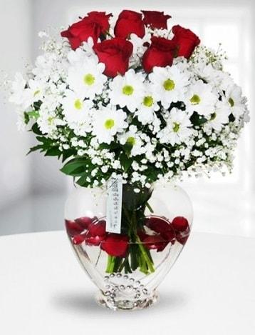 Kalp camda 7 gül kır çiçeği süper görsellik  Ankara Polatlı çiçek yolla