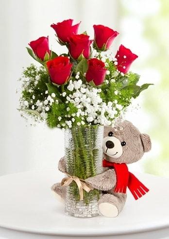 Cam vazoda 7 kırmızı gül ve peluş ayı  Polatlıya çiçek Ankara çiçekçi telefonları