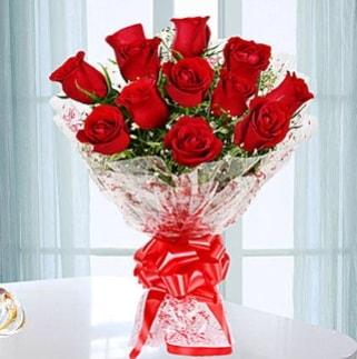 11 adet kırmızı gülden görsel şık buket  ucuz çiçek gönder