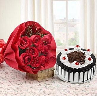 12 adet kırmızı gül 4 kişilik yaş pasta  Polatlı Ankara çiçek , çiçekçi , çiçekçilik