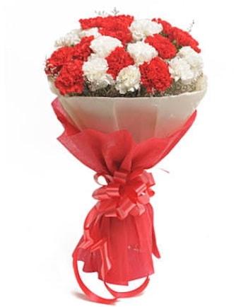 21 adet kırmızı beyaz karanfil buketi  Polatlı çiçek satışı