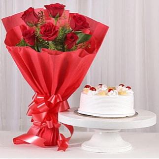 6 Kırmızı gül ve 4 kişilik yaş pasta  Polatlı Ankara çiçek , çiçekçi , çiçekçilik