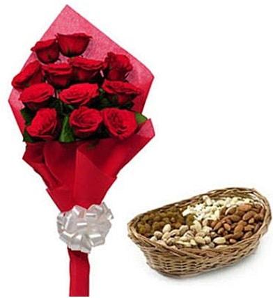 11 adet kırmızı gül ve sepette kuruyemiş  Polatlı internetten çiçek satışı