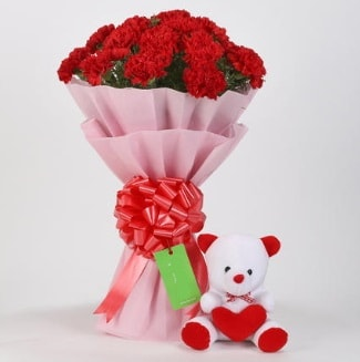 19 kırmızı karanfil buketi 15 cm ayıcık  Polatlı çiçek siparişi vermek