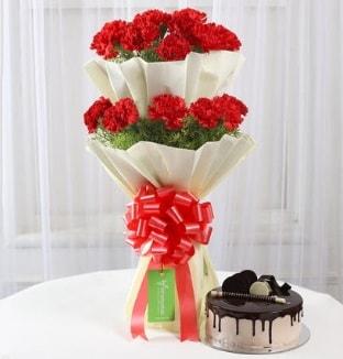 20 adet kırmızı karanfil buketi ve yaş pasta  Polatlı çiçek gönderme sitemiz güvenlidir