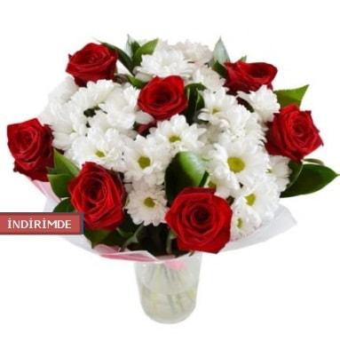 7 kırmızı gül ve 1 demet krizantem  Polatlı çiçek gönderme sitemiz güvenlidir
