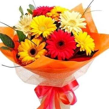 9 adet karışık gerbera buketi  Polatlı Ankara çiçek , çiçekçi , çiçekçilik