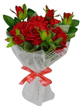 9 adet kırmızı gülden sade şık buket  Polatlıya çiçek Ankara çiçekçi telefonları