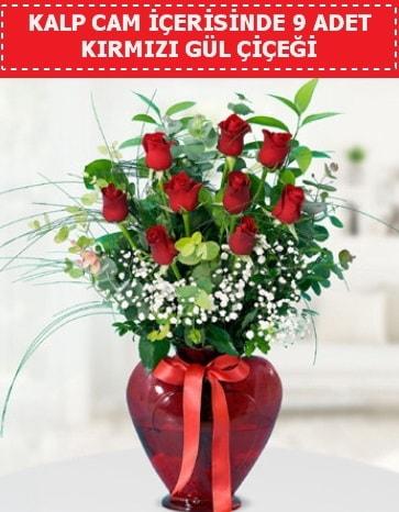 Kırmızı kalp camda 9 kırmızı gül  Polatlı çiçek satışı
