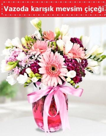 Vazoda karışık mevsim çiçeği  Polatlı Ankara çiçek , çiçekçi , çiçekçilik