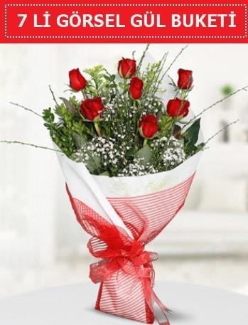 7 adet kırmızı gül buketi Aşk budur  Polatlı çiçek satışı