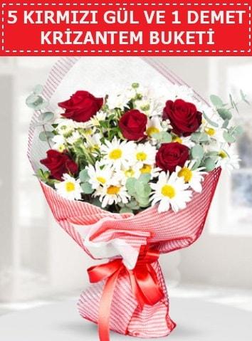 5 adet kırmızı gül ve krizantem buketi  Polatlı çiçek satışı