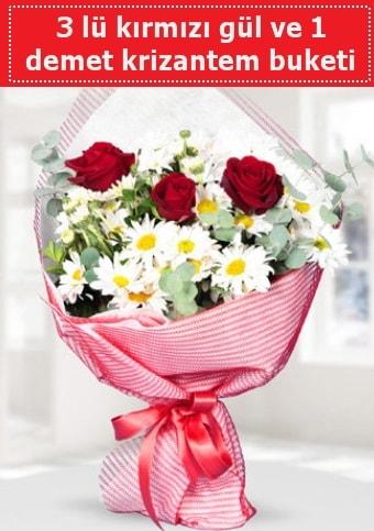 3 adet kırmızı gül ve krizantem buketi  Polatlı çiçek gönderme sitemiz güvenlidir