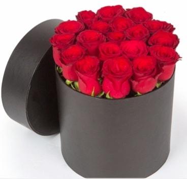 21 adet siyah kutuda kırmızı gül  Polatlı Ankara hediye çiçek yolla