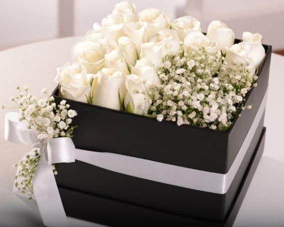 Kutu içerisinde 19 beyaz gül ve cipsofilya  Polatlı Ankara çiçek , çiçekçi , çiçekçilik
