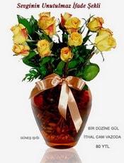 Polatlı internetten çiçek satışı  mika yada Cam vazoda 12 adet sari gül