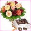 internetten çiçek siparişi  Renkli Güller ve çikolata